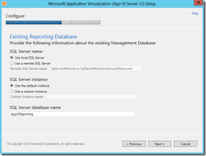 Enter Reporting Database Location